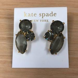 NWTs Kate Spade 14KGold Fill Grey Stone Earrings